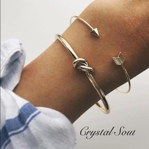 Jewelry - 🎉2pcs Cuff Arrow & Knotted Charm Bracelet